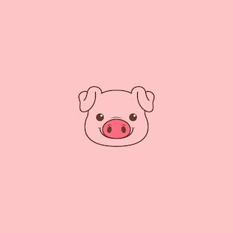 Cute dibujos animados de cara de cerdo