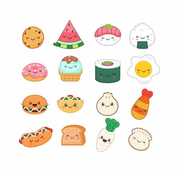 Cute dibujos animados de carácter de etiqueta engomada de comida kawaii
