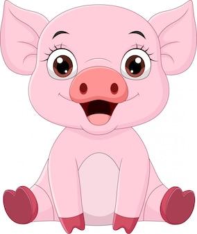 Cute dibujos animados de cerdo bebé sentado