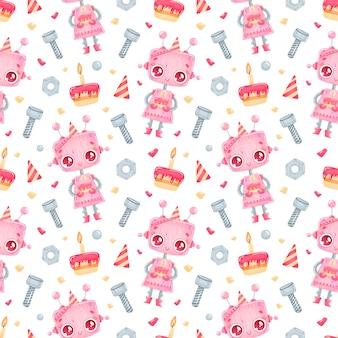 Cute dibujos animados cumpleaños robot chica de patrones sin fisuras