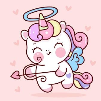 Cute dibujos animados de cupido unicornio con flecha kawaii para el día de san valentín