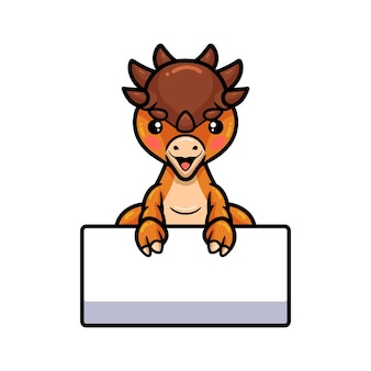 Cute dibujos animados de dinosaurio pachycephalosaurus con signo en blanco