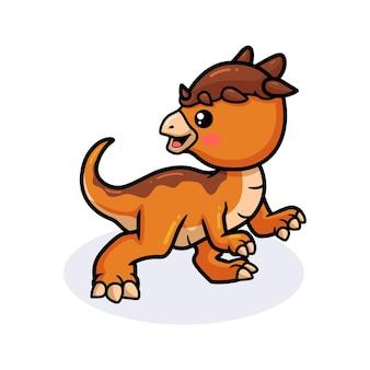 Cute dibujos animados de dinosaurio pachycephalosaurus