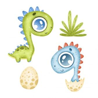 Cute dibujos animados dinosaurios tropicales en un fondo blanco