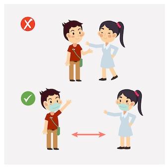 Cute dibujos animados de distanciamiento social, proteger del concepto de propagación del brote de coronavirus covid-19. forma correcta y forma incorrecta.
