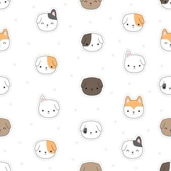 Cute dibujos animados doodle de patrones sin fisuras con cabeza de perro pequeño