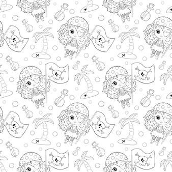 Cute dibujos animados doodle piratas niñas de patrones sin fisuras. piratas página para colorear