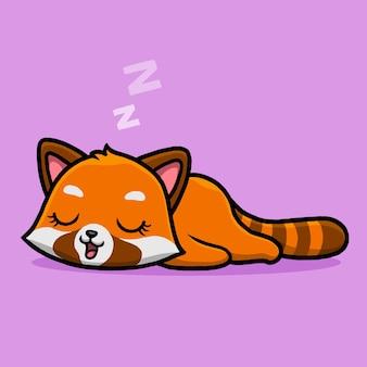 Cute dibujos animados durmiendo panda rojo.