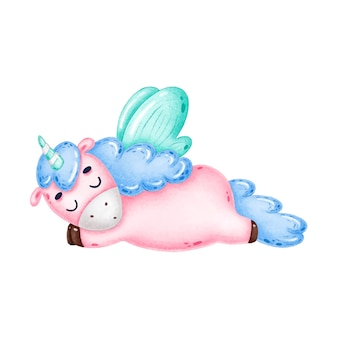 Cute dibujos animados durmiendo unicornio rosa sobre un fondo blanco