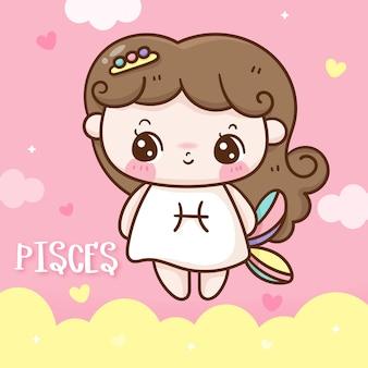 Cute dibujos animados de estilo doodle del horóscopo del zodiaco de piscis kawaii