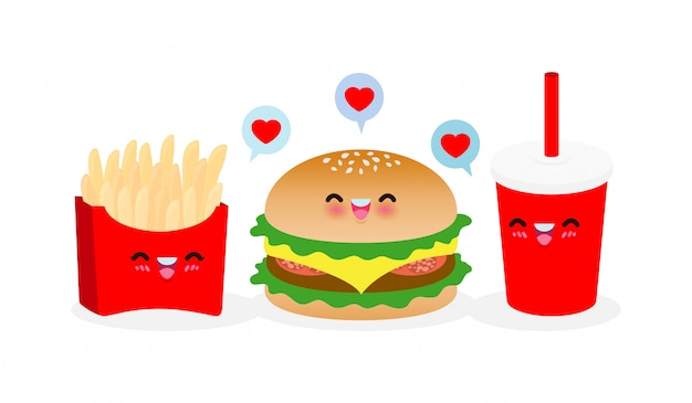 Cute dibujos animados feliz hamburguesa, papas fritas, cola, conjunto de menú de comida rápida. personajes divertidos mejores amigos para siempre concepto de comida y bebida cartel aislado sobre fondo blanco ilustración