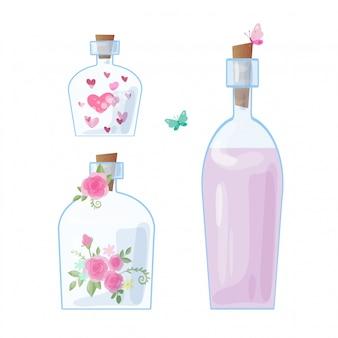Cute dibujos animados frascos de vidrio y tapas con corazones y rosas para el día de san valentín