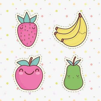 Cute dibujos animados de frutas manzana plátano pera