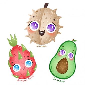 Cute dibujos animados de frutas tropicales exóticas con grandes ojos establecidos. dibujos animados durian, fruta del dragón, aguacate con nombres