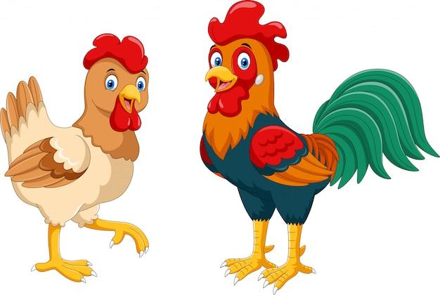 Cute dibujos animados de gallina y gallo
