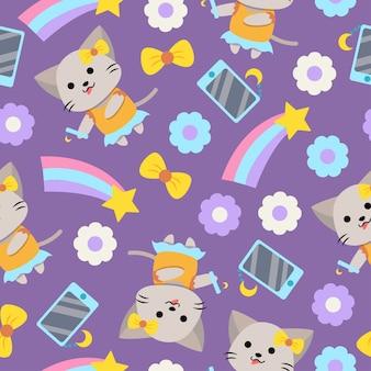 Cute dibujos animados de gato femenino de patrones sin fisuras con smartphone