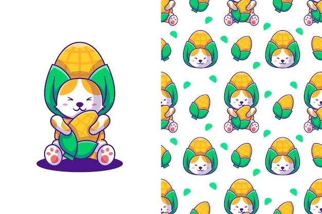 Cute dibujos animados de gato y maíz con patrones sin fisuras