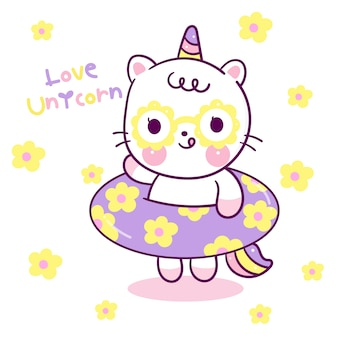 Cute dibujos animados de gato unicornio con anillo de goma estilo kawaii
