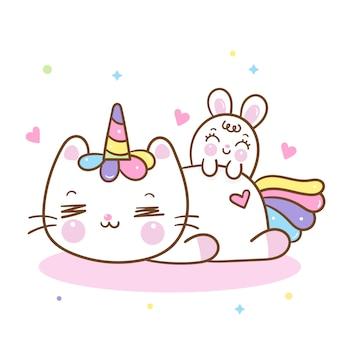 Cute dibujos animados de gato unicornio y conejo de conejito