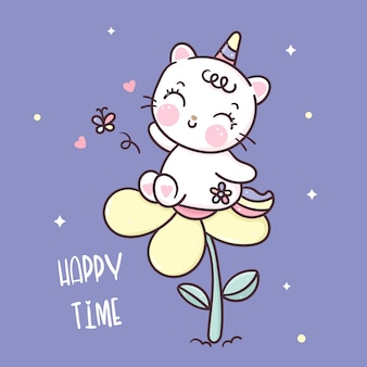 Cute dibujos animados de gato unicornio con flor kawaii animal