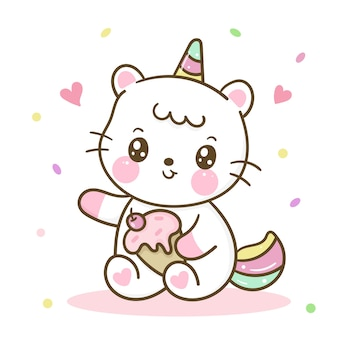 Cute dibujos animados de gato unicornio holiding helado kawaii handdraw