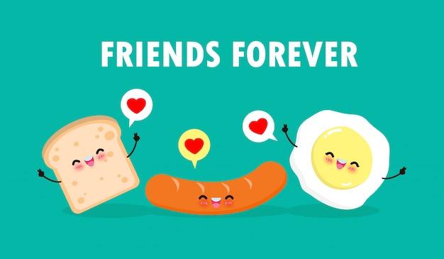 Cute dibujos animados happy egg, salchichas, tostadas, desayuno personajes divertidos mejores amigos concepto de comida y bebida con amigos para siempre póster aislado sobre fondo blanco ilustración de estilo plano