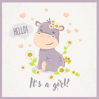 Cute dibujos animados hippo girl.