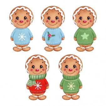 Cute dibujos animados hombres de pan de jengibre de navidad en un conjunto de suéteres de navidad.