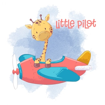 Cute dibujos animados jirafa en un avión.