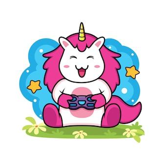 Cute dibujos animados de juegos de unicornio