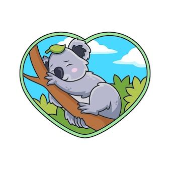 Cute dibujos animados de koala durmiendo en árbol