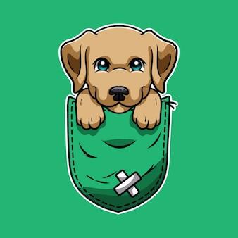 Cute dibujos animados de un labrador retriever en un bolsillo