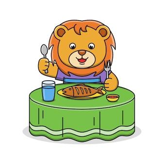 Cute dibujos animados león comiendo pescado, ilustración, diseño