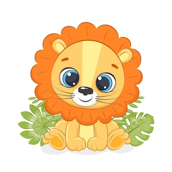 Cute dibujos animados de león pequeño aislado en blanco