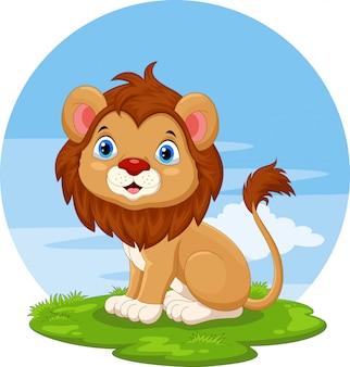 Cute dibujos animados de león sentado
