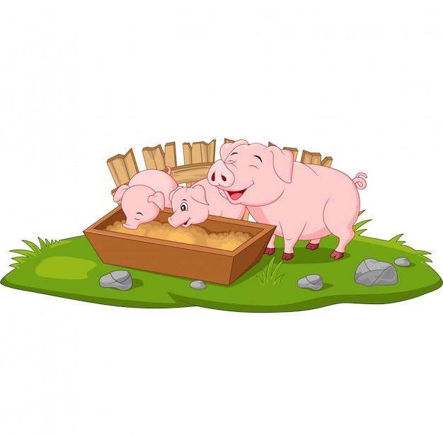 Cute dibujos animados madre cerdo y lechones
