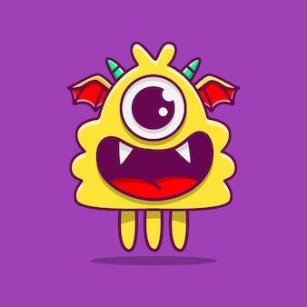 Cute dibujos animados de monstruo doodle aislado en púrpura