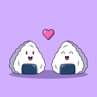 Cute dibujos animados onigiri pareja enamorada plana