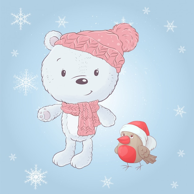 Cute dibujos animados oso blanco en un sombrero con un camachuelo. ilustración vectorial