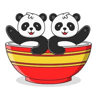 Cute dibujos animados panda en una ilustración de tazón