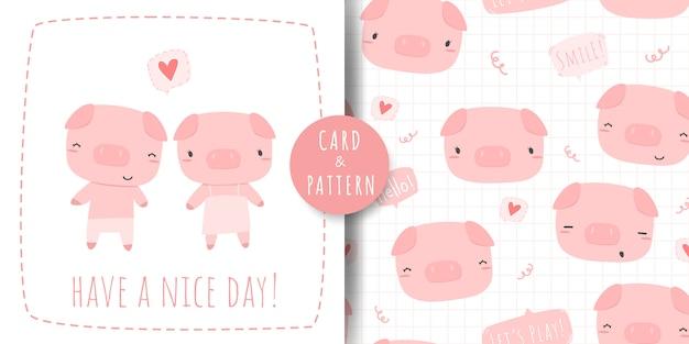 Cute dibujos animados de pareja de cerdo rosa doodle doodle de patrones sin fisuras y paquete de tarjeta