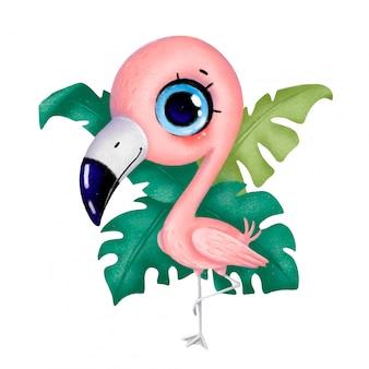 Cute dibujos animados pastel pequeño flamenco se encuentra en una pierna con hojas tropicales en el fondo aislado sobre fondo blanco.