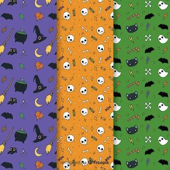 Cute dibujos animados de patrones sin fisuras de halloween