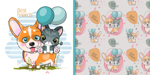 Cute dibujos animados perro corgi con lindo gatito