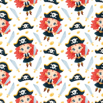 Cute dibujos animados piratas niñas de patrones sin fisuras