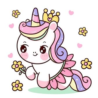 Cute dibujos animados de princesa unicornio sosteniendo una flor y vistiendo un elegante vestido de flor kawaii animal