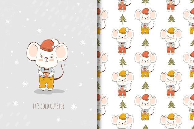 Cute dibujos animados ratoncito con tarjeta de copa y patrones sin fisuras. animal de invierno