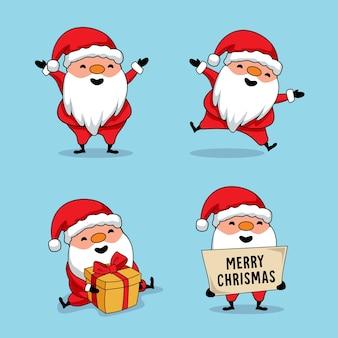 Cute dibujos animados de santa claus feliz navidad