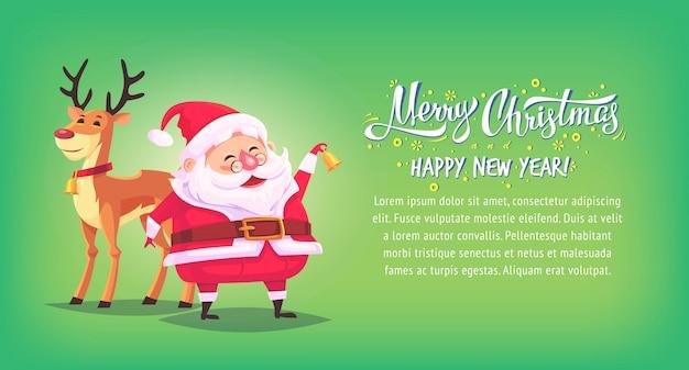 Cute dibujos animados santa claus sonando la campana con renos feliz navidad ilustración banner horizontal.