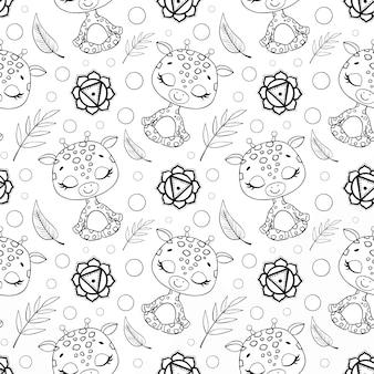 Cute dibujos animados selva animales meditación de patrones sin fisuras